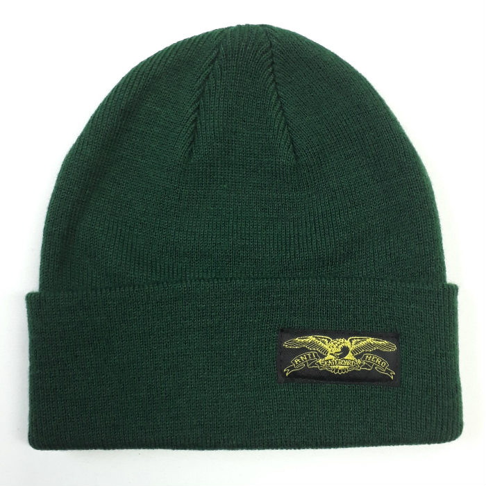 Anti Hero Skateboards - Basic Eagle Label - Cuff Beanie Hat - Forrest Green/Yellow
