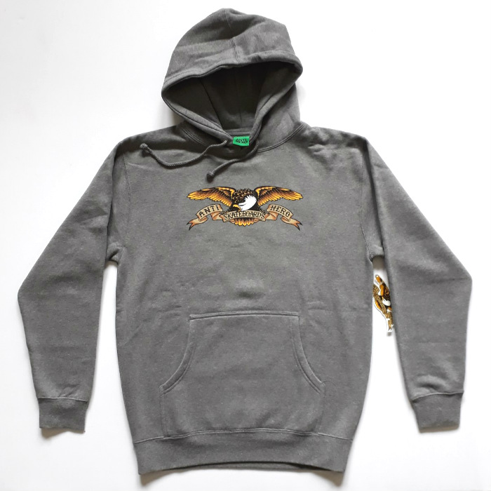 Anti Hero Skateboards - Eagle - Pullover Hooded Sweatshirt - Gunmetal Heather