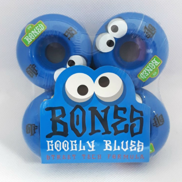 Bones Wheels - STF Googly Blues - V4 Shape - Skateboard Wheels 53mm Blue