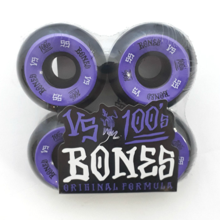 Bones Wheels - OG 100's - #1 V5 Shape - Skateboard Wheels 55mm - Black