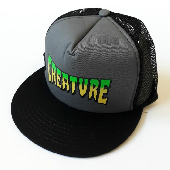 71af3a1a Creature Skateboards - Creature Logo - Mesh Trucker Cap - Grey/Black
