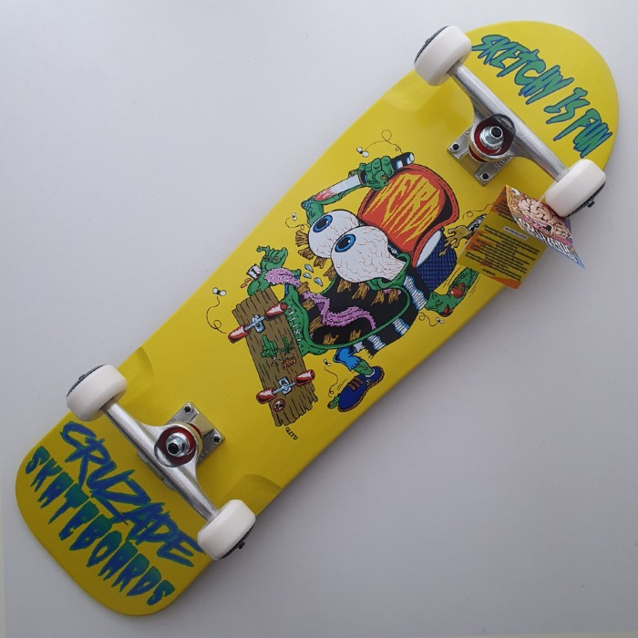 Cruzade Skateboards - Sketchy Is Fun - Shaped Complete Skateboard 9.00 - Yellow