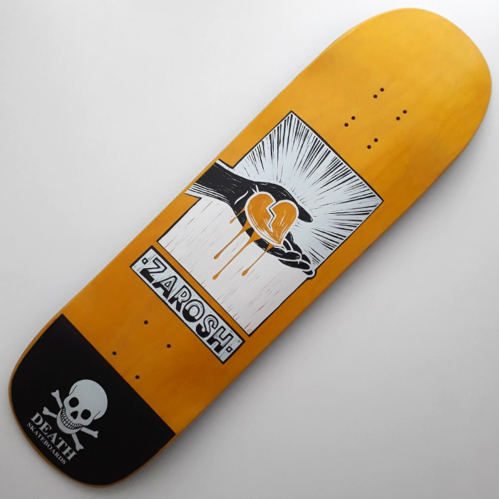 Death Skateboards - Zarosh Yellow Heart - Skateboard Deck 9.00