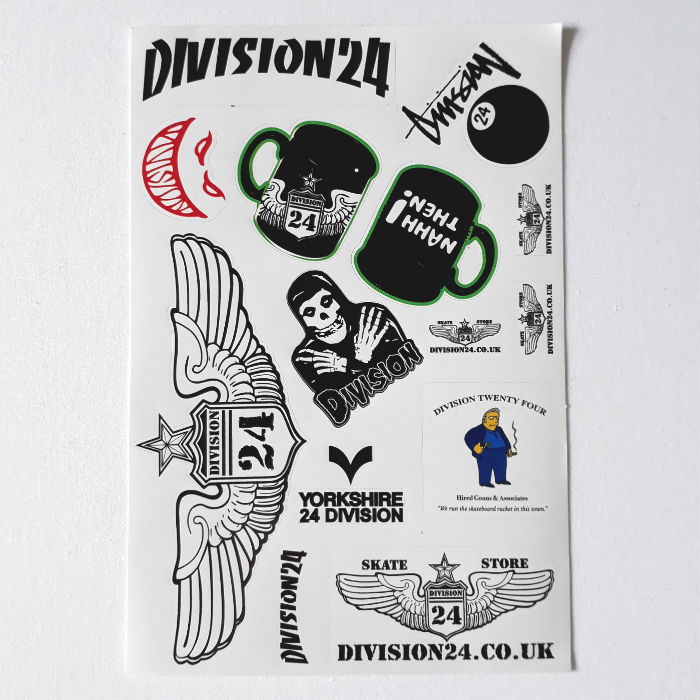 Division 24 Skate Store - A5 Sticker / Decal Sheet - 14x Stickers