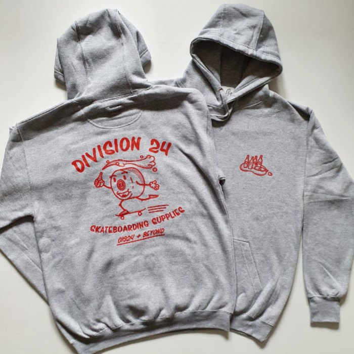 Division 24 Skate Store - Pushin Smooth - Pullover Hooded Sweatshirt - Heather Grey