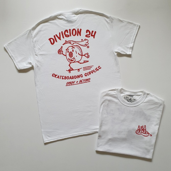 Division 24 Skate Store - Pushin Smooth - T-Shirt - White