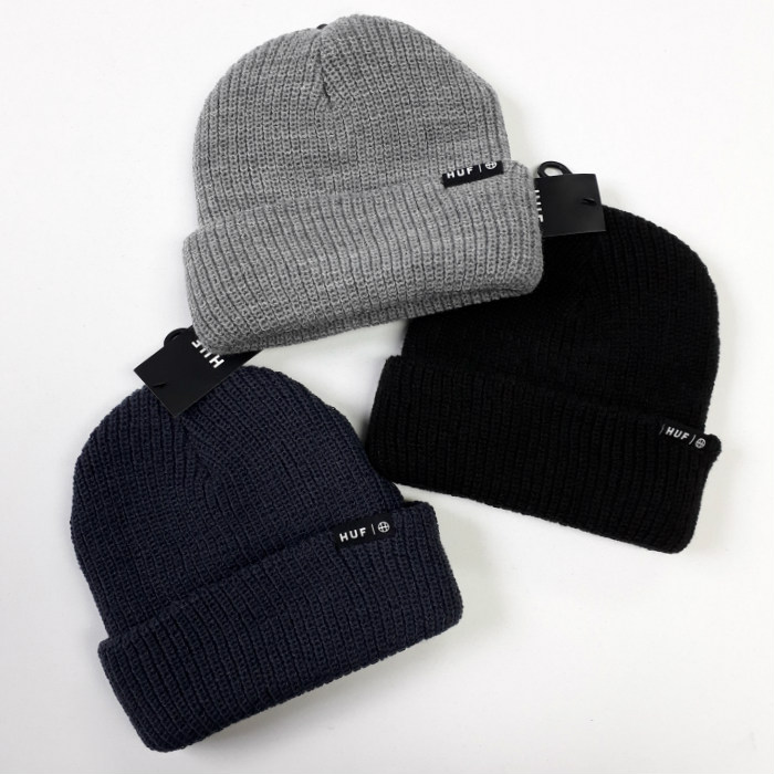 HUF-Worldwide-Usual-Cuff-Beanie-Hat-Black-Heather-Grey-Moon-Indigo
