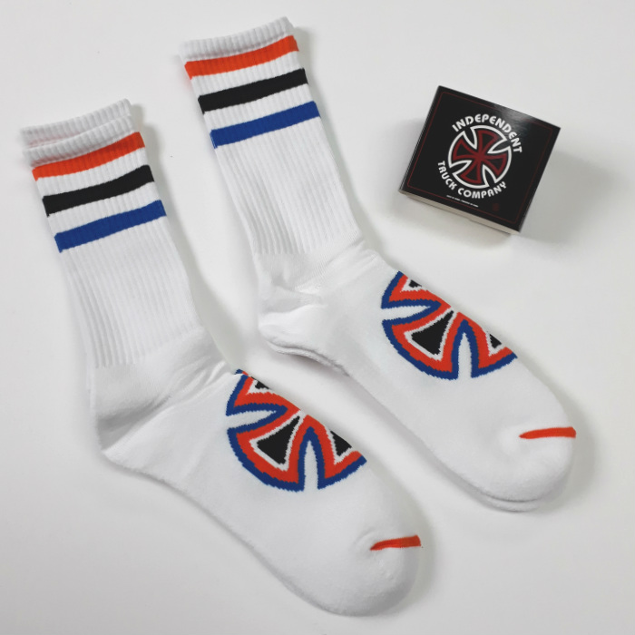 Independent Trucks - Stripes Crew Socks - White