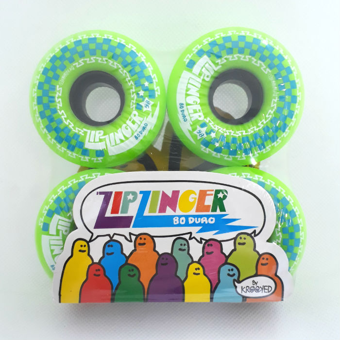 Krooked Skateboards - Zip Zinger - Skateboard Wheels - 58mm / 80A - Green