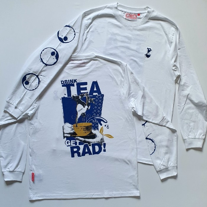 Lovenskate - Drink Tea, Get Rad - Long Sleeved T-Shirt - White