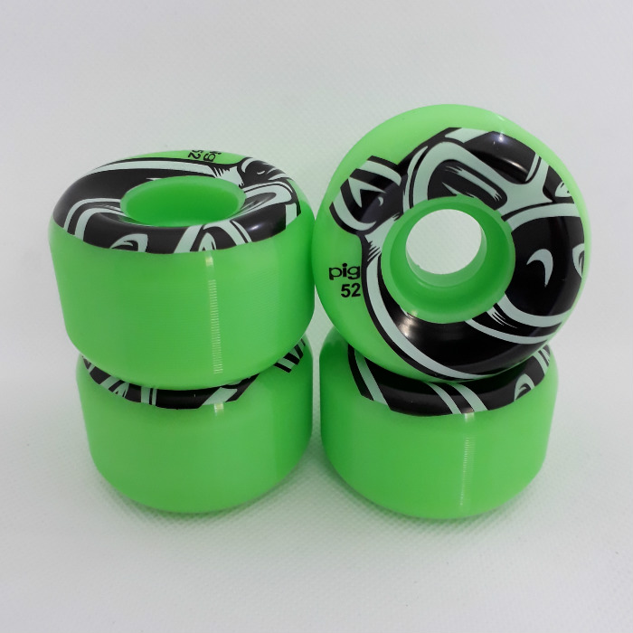 PIG Wheels - 3D Conical - Skateboard Wheels 52mm - Green