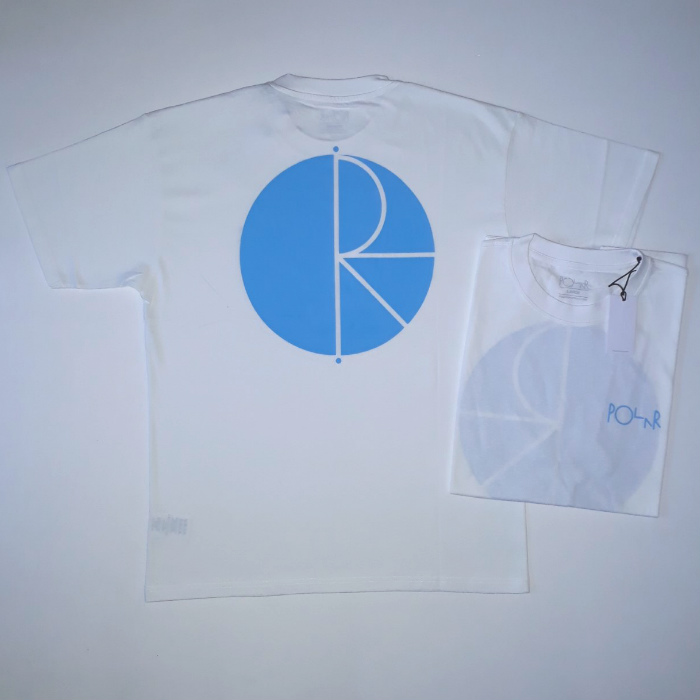 Polar Skate Co - Fill Logo T-Shirt - White/Pool Blue