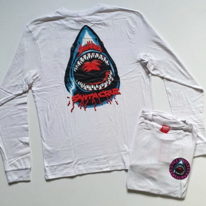 Santa Cruz Skateboards - Speed Wheels Shark - Long Sleeve T-Shirt - White