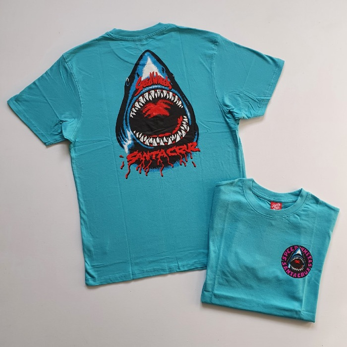 Santa Cruz Skateboards - Speed Wheels Shark - T-Shirt - Pacific Blue