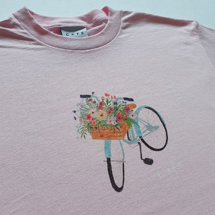 Skateboard-Cafe-Flower-Basket-T-Shirt-Light-Pink-A