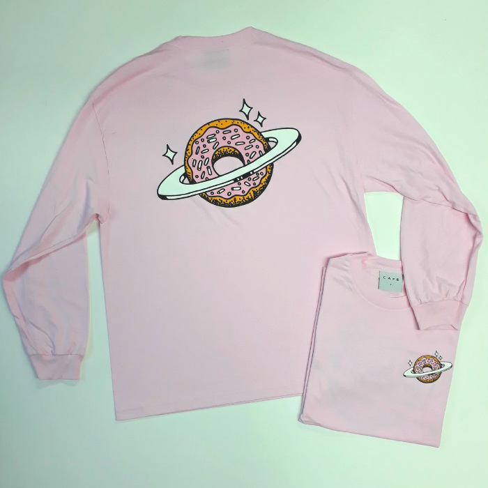 Skateboard-Cafe-Planet-Donut-Long-Sleeve-T-Shirt-Pink