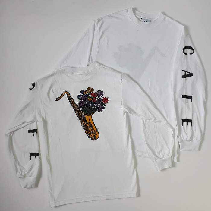 Skateboard Cafe - Sax Flowers - Long Sleeve T-Shirt - White