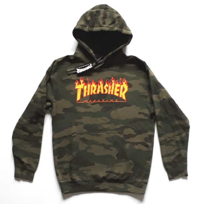 Thrasher Magazine - Flame - Pullover Hooded Sweatshirt - Forest Camo