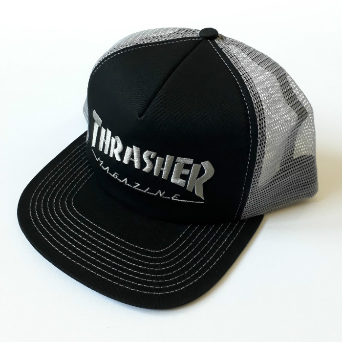 Thrasher-Magazine-Logo-Embroidered-Mesh-Trucker-Cap-Black-Grey