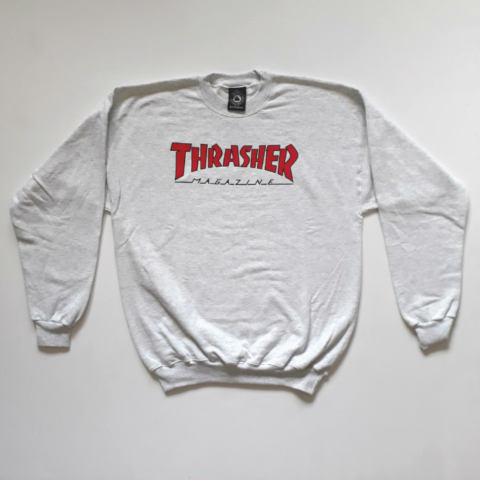 Thrasher Magazine - Outlined - Pullover Crew Jumper - Ash Grey