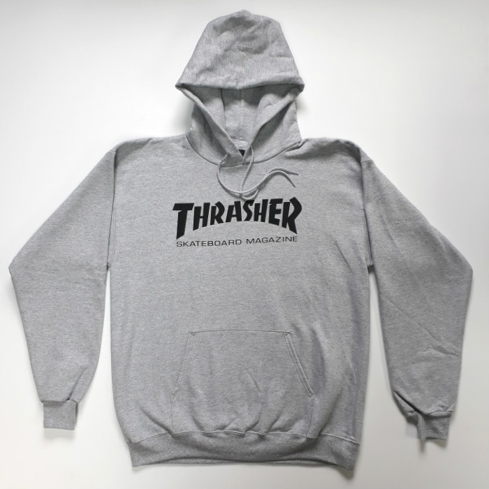 Thrasher Magazine - Skate Mag Logo - Pullover Hooded Sweatshirt - Heather Grey