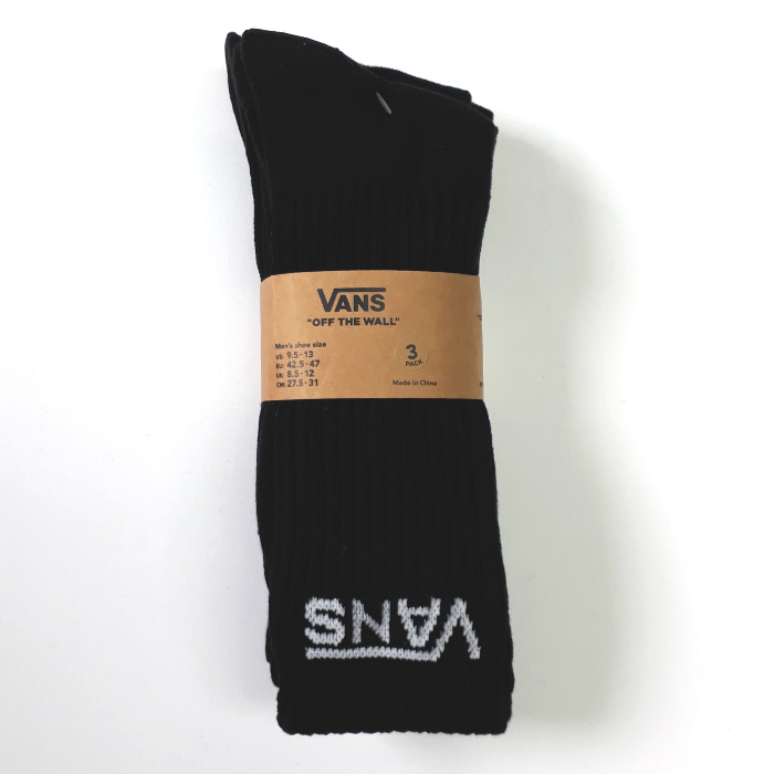 a52f188297 Vans - Classic Crew Socks - Black - 3 Pack